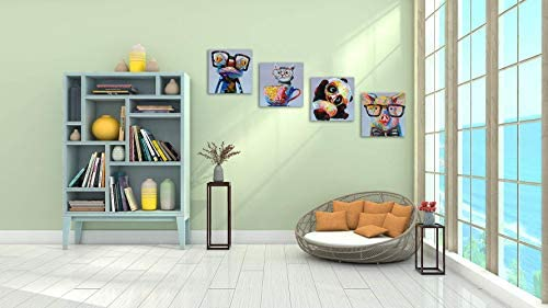 Skyme Art Canvas Animal Wall Art 4 Panels Cute Panda Funny Frog Cartoon Picture Animals Painting Artwork