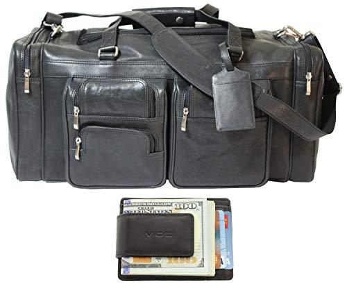 Canvas Wallet Newport - Viosi Malibu 22 Inch Genuine Leather Duffel Travel Bag Sports Gym Bag Weekender Overnight Luggage [Black]