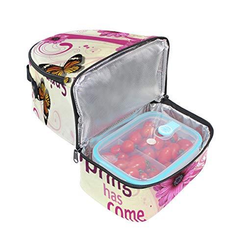 correa el con cierre de mariposas Bolsa para ajustable hombro almuerzo florales de aislante con Alinlo diseño 6USPawxA