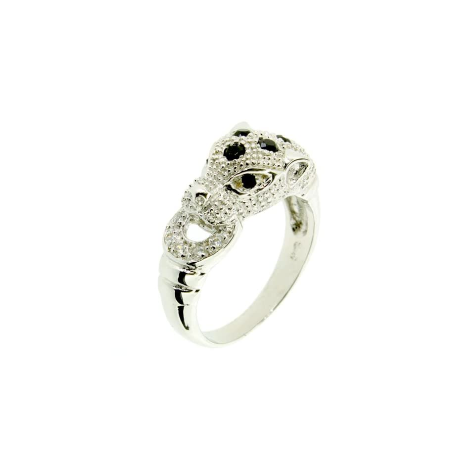 LenYa Special   Characteristic of you, Birthday Rhodium Plated Silver Ring with Round Black Spinel, (Ring Size 8.75)