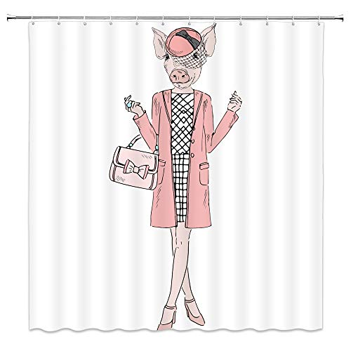 Cute Pink Pig Decor White Shower Curtain Cartoon Fun Animal Dressed Up Like Fashion Hipster Woman,70x70 Inch Waterproof Polyester Fabric Bathroom Accessories Curtains with - Shower Pigs Curtain