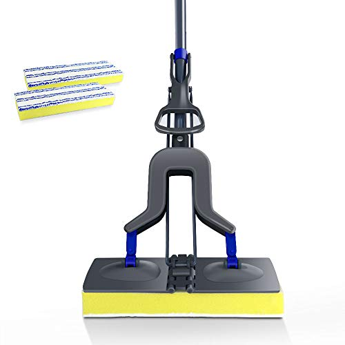 Microfiber Sponge Mop - Mastertop Telescopic Sponge Microfiber Flat Mop for Floor Cleaning with 2 Sponge Replacement Heads