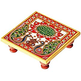 Handicrafts Paradise Peacock Design Painted Marble Chowki (10.2 cm x 10.2 cm x 2.55 cm, Multicolor)