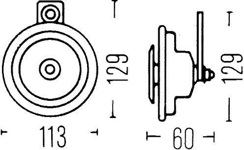 A Couleur du carter gris 116dB HELLA 3BA 002 768-131 Avertisseur sonore