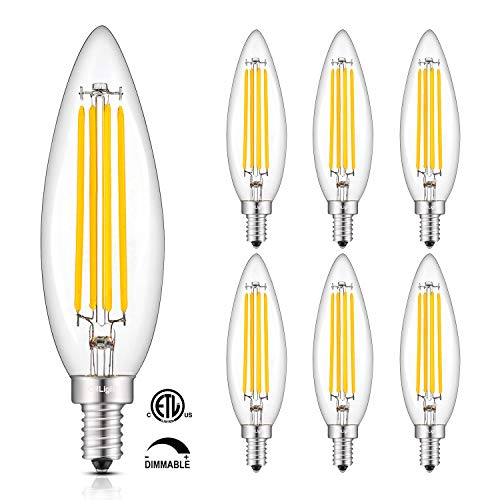 CRLight 8W Smooth Dimming Version Dimmable LED Candelabra Bulb 80W Equivalent 800LM, 2700K Warm White E12 Base, Upgraded Lengthened & Enlarged B11 Clear Candle LED Filament Chandelier Bulbs, 6 Pack (80w Candelabra)