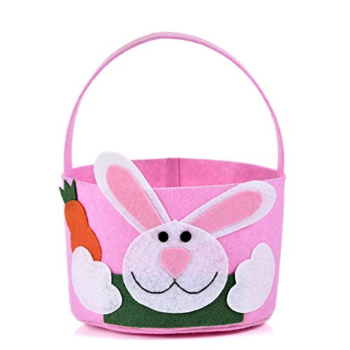 (Easter Storage Bag - Round Rabbit Gift Candy Bascket with Handle - Blue/Pink to)