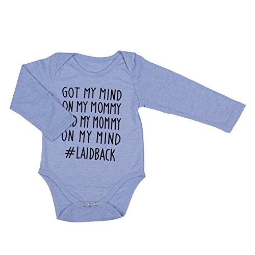 IU Newborn Baby Got My Mind On My Mommy Long Sleeve Funny Bodysuits Rompers Outfits