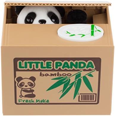 LemonBest Powstro Cute Itazura Stealing Coin Bank Cents Penny Buck Saving Money Box Pot Case Piggy Bank Panda