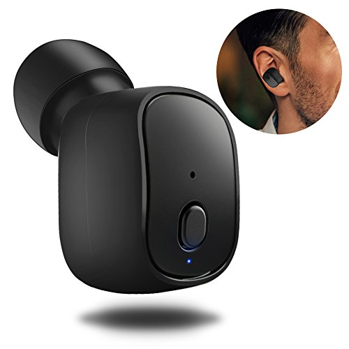 Mini Bluetooth Headphone, TedGem Wireless Invisible Headphone V4.1 Single Mini Bluetooth Earbud 10 Hours Music Time, Mini Wireless Earbuds with Mic Wireless Charging for iPhone Android Phones