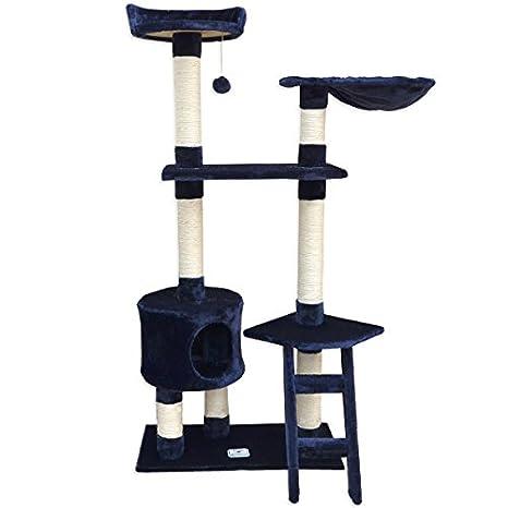 Eyepower Árbol Rascador para gatos Pia altura aprox 142cm peluche Azul Oscuro: Amazon.es: Productos para mascotas