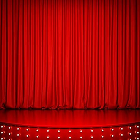 Baocicco 5x4ft Vinyl Theater Stage Interior Backdrop Photography Background Stage Lights Red Curtains Wooden Floor Festival Celebration Backdrop Children Baby Adults Portraits Photo Studio