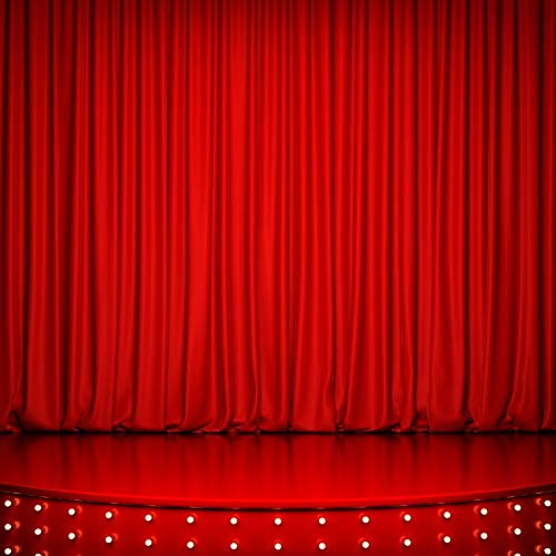 Leowefowa 8 x 8フィート ビニールステージライト 赤色カーテン 背景 写真背景 室内 劇場 背景 子供 大人 写真スタジオ小道具   B07JBSFJ1Y