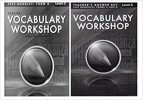 Vocabulary Workshop Test Booklet Form A Level C Grade 8