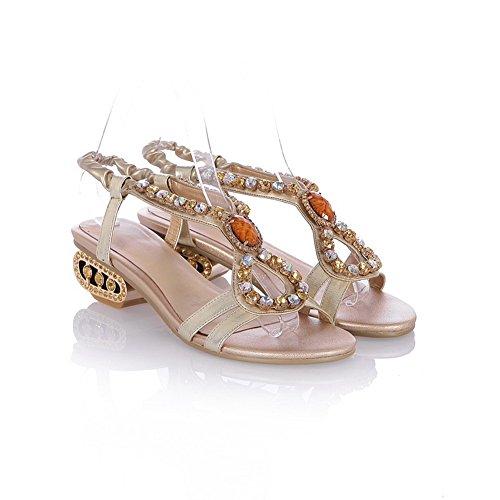 Amoonyfashion Donna Open Toe Tacco Basso In Pelle Di Mucca Materiale Morbido Sandali Solidi Con Vetro Diamantato Oro