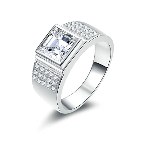 AmDxD Jewelry Silver Plated Men Promise Customizable Rings Square CZ Size 9