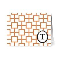 Note Card Café Monogram Tangerine 'T' Letter Cards | Grey Envelopes | 24 Pack | Blank Inside, Glossy Finish | Modern Geo Tile Design |Bulk Set | Stationery, Personalized Greeting, Thank You