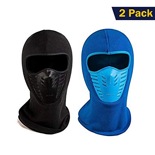 ETCBUYS Unisex Winter Fleece Face & Windproof Ski Mask (Black-Blue)