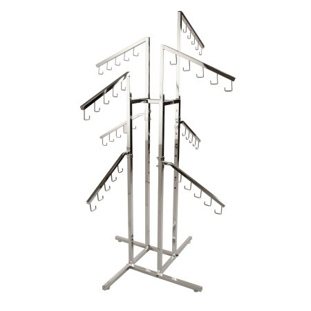 Handbag Rack – Heavy Duty Chrome 4 Way Rack, 8 Adjustable Height Slant Arms, Square Tubing, Perfect for Handbags or Small Garments Store Display