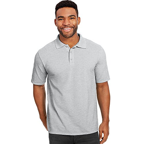 3 Button Shirt (Hanes Men's Short Sleeve X-Temp W/FreshIQ Polo, Light Steel, 3X-Large)