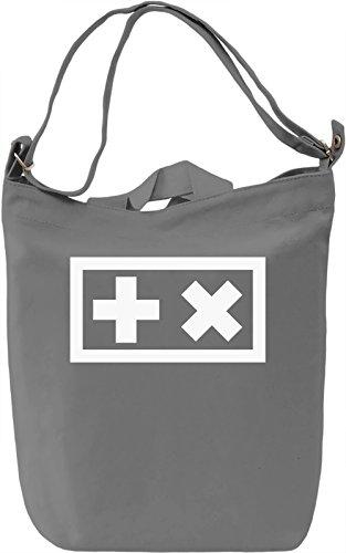 Plus X White Borsa Giornaliera Canvas Canvas Day Bag| 100% Premium Cotton Canvas| DTG Printing|