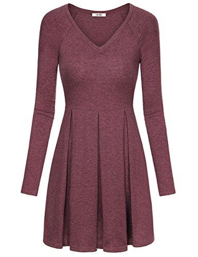 Jersey Pleated V-Neck Dress - 8