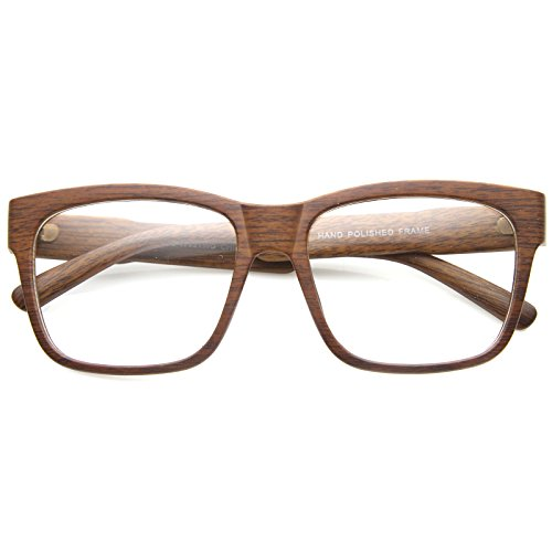 zeroUV - Classic Square Wood Frame Wide Temple Clear Lens Horn Rimmed Glasses 52mm (Naturalwood / - Glasses Temple Wide