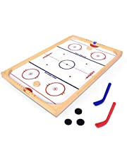Save on GoSports Hockey Ice Pucky Wooden Table Top Hockey Game for Kids & Adults - Includes 1 Game Board, 2 Hockey Sticks & 3 Pucks and more