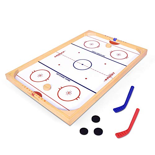 GoSports Hockey Ice Pucky Wooden Table Top Hockey Game for Kids & Adults - Includes 1 Game Board, 2 Hockey Sticks & 3 Pucks (The Best Hockey Game)