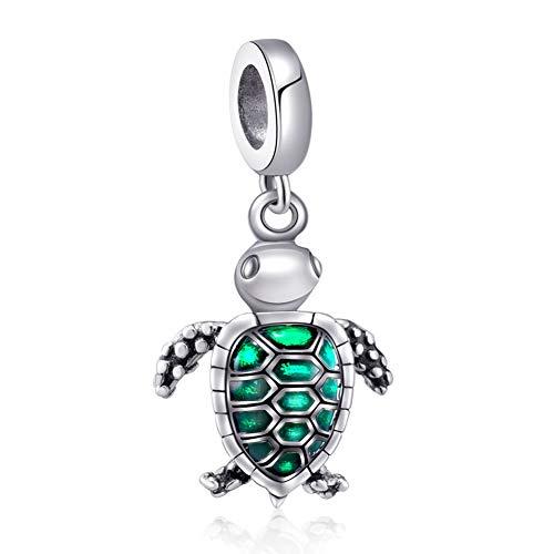 Sambaah Turtle Charm Sterling Silver Green Sea Tortoise Charm Pendant Blue Enamel Charm Bead Lucky Turtle Charm for Bracelets