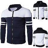 Farjing Clearance Sale Fashion Men's Autumn Winter Zipper Sportswear Patchwork Jacket Long Sleeve Coat(L,Navy