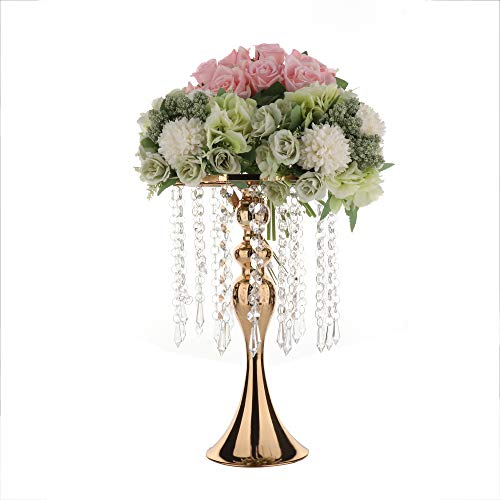 Candle Holder With Acrylic Imitation Crystal| Candle Stand|13in Candlestick |Wedding Table Centerpiece|Metal Flower Vase Stand Arrangement|Wedding Flower Column Display for Wedding Party Birthday