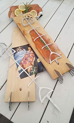 Braciere per salmone fiammato, supporto in acciaio inox, tagliere in legno di faggio