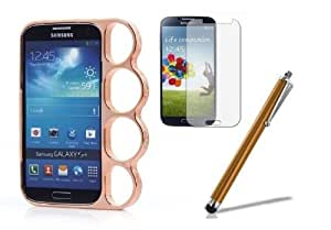 BHD Deluxe Bronze Ring Brass Knuckle Bumper Rim Hard Plastic Case Cover For Samsung Galaxy S4 i9500 SIV + Stylus Pen + Screen Protector