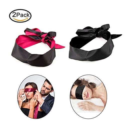 Satin Blindfold Handcuffs for Women - Soft Red Eye Mask Blindfolds Tie-on Mask for Sex Play Black Red Blindfold(2 -
