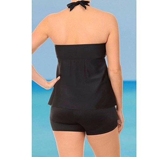 Ensembles Couleur Shorts Grande Maillots Swimsuits Rayures Lâche Two Elegant Pure Ladies Bain Pansements Piece Avec Taille Adeshop Amincissant De Femmes Noir twXXO