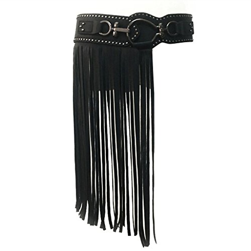 COUCOU Age Vintage Tassel Belt Punk Stlye For Dress Shirt Black,Black,Large / X-Large by COUCOU Age