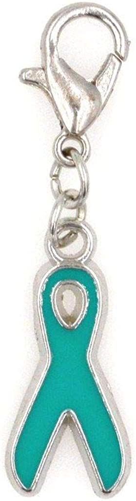 It's All About...You! Teal Awareness Ribbon Clip on Charm Perfect for Necklaces and Bracelets 97Aa
