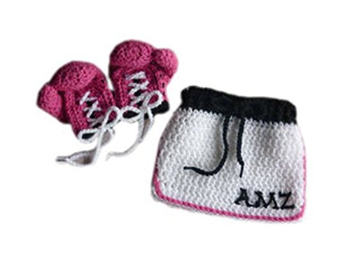Pinbo Baby Girls Photo Photography Prop Crochet Knitted Costume Boxer Gloves Skirt ()