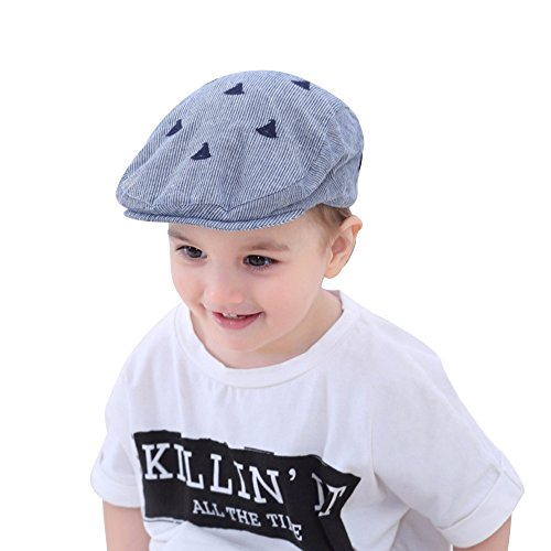 (XIAOHAWANG Kids Cotton Hat Baby Boy Caps Beret with Embroidery Sun Protection)