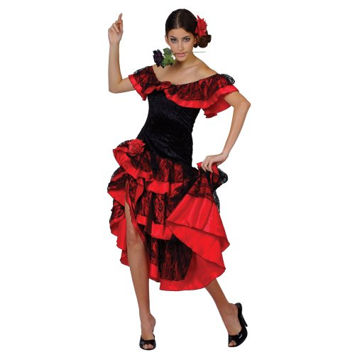 Spanish Dancer Fancy Dress Costume (Wicked Spanish Senorita Flamenco Salsa Dancer Fancy Dress Costume S 10-12)
