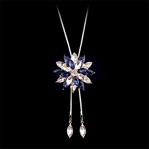 Meolin Fashion Flower Diamond Pendant Necklace Sweater Chain Long Necklace Jewelry,blue,80cm