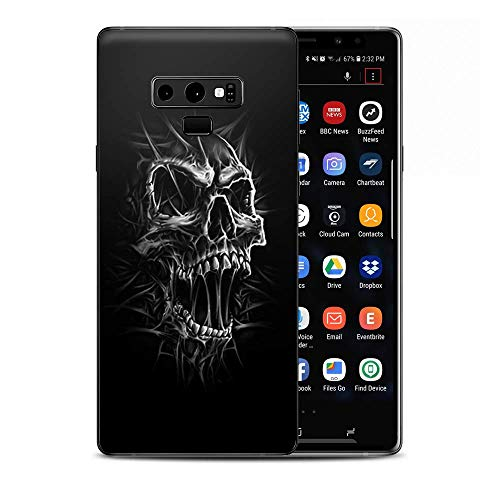 (Skin Decal Vinyl Wrap for Samsung Galaxy Note 9 | Decal Stickers Skins Cover| Skull Evil Stretch Slash Screaming)
