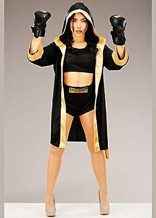 Magic Box Disfraz de Boxeador Lindo Negro y Dorado para Mujer S ...
