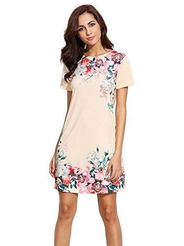 Floerns Women's Floral Print Short Sleeve Casual Top Shirt Dress Apricot S