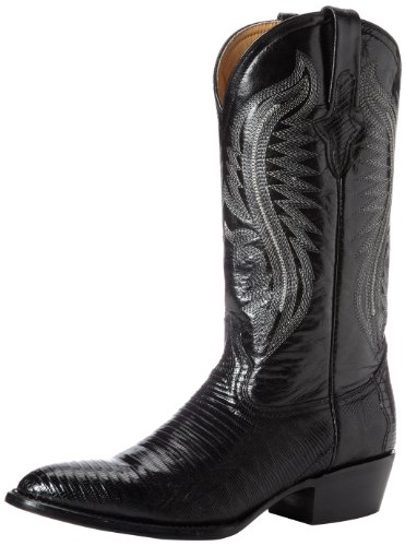 Ferrini Men's Genuine Lizard R-Toe Western Boot,Black,10.5 D ()