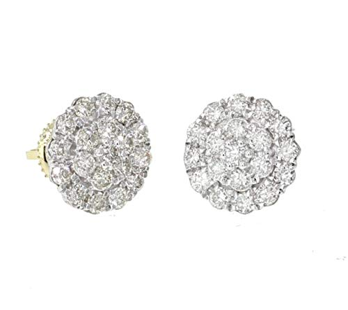 10K Gold Round Diamond Cluster Earrings 1.00ctw Screw back 10mm Wide Womens or Mens ()