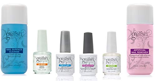Gelish Full Size Gel Nail Polish Basix Care Kit  + Remover &