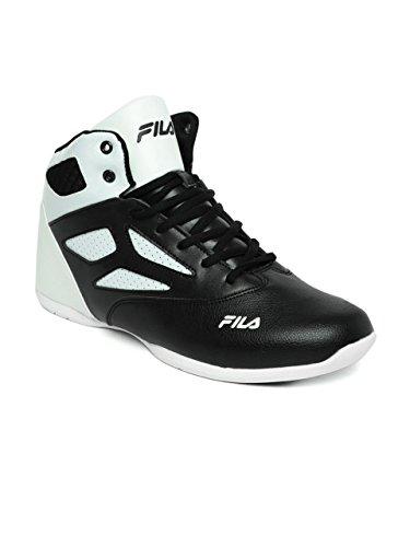 c5b5d07563a0 FILA Men Black   White Rim Loop Perforated High-Top Basketball Shoes ...