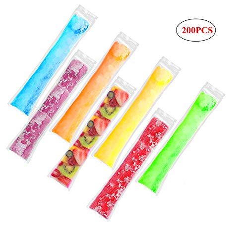Gorgebuy 200 PCS Disposable DIY Ice Popsicle Mold Bags For Healthy Snacks, Yogurt Sticks, Juice & Fruit Smoothies, Ice Candy Popsicle -