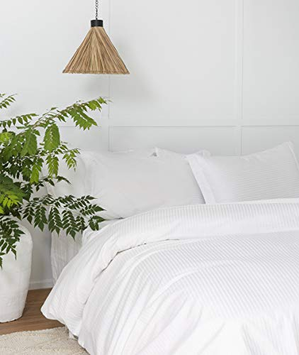 White Duvet Cover Queen, Classic Damask Pinstripe Pattern, 100% Long Staple Cotton with Silky &Luxury Sateen Woven, Cool & Breathable, Luxury Royal Hotel Style Clean Look Duvet Cover (Duvet Cover Queen White Stripe)